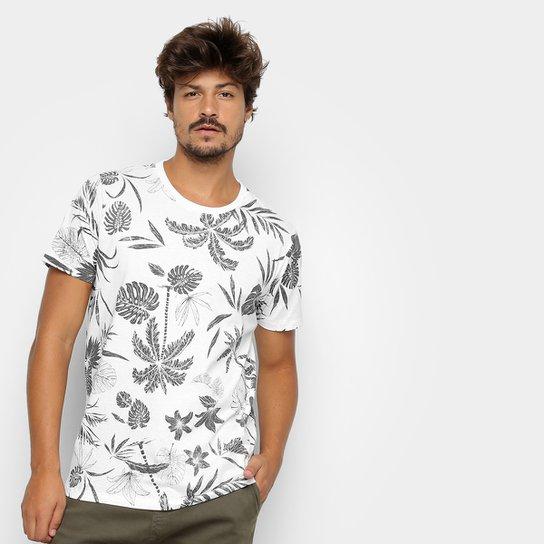 6c73c516f Camiseta Colcci Estampa Folhagem Masculina - Branco e Azul - Compre ...