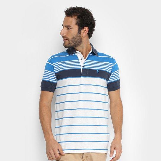 Camisa Polo Aleatory Fio Tinto Listrada Masculina - Branco e Azul ... 7a71ebcc7869f