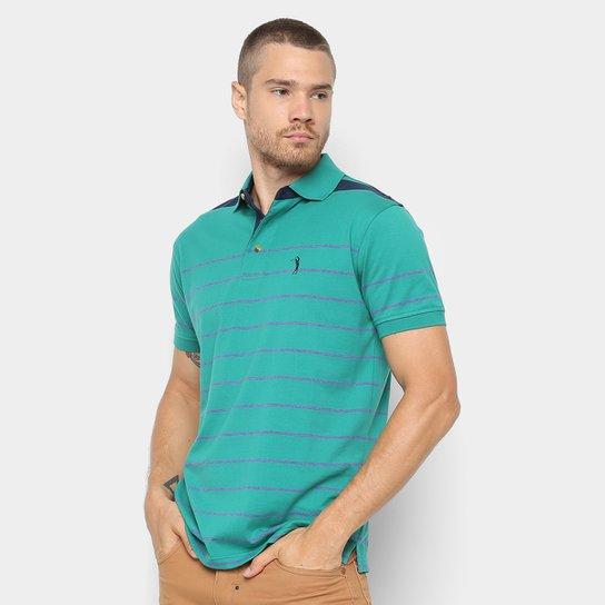 Camisa Polo Aleatory Fio Tinto Listrada Masculina - Verde e Roxo ... 9063a4ffcd966