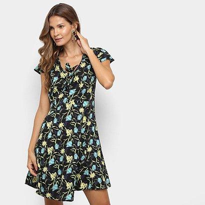 Vestido Top Moda Floral Amarração Feminino