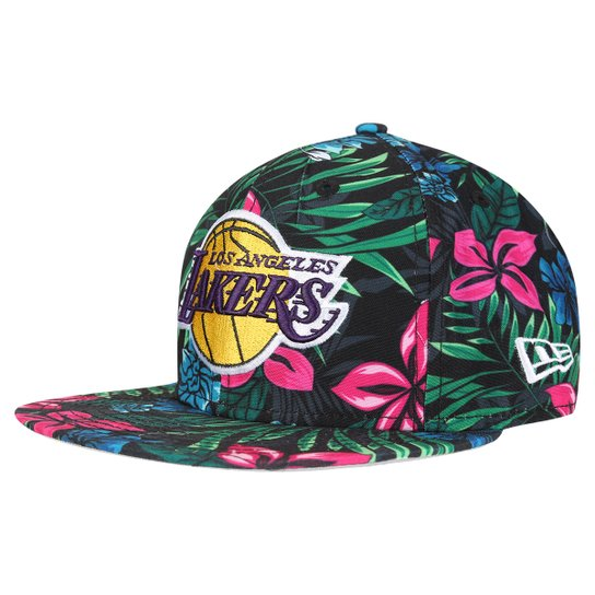 Boné New Era NBA 950 Of Sn Black Floral Los Angeles Lakers - Preto+verde 3d07ae2e625