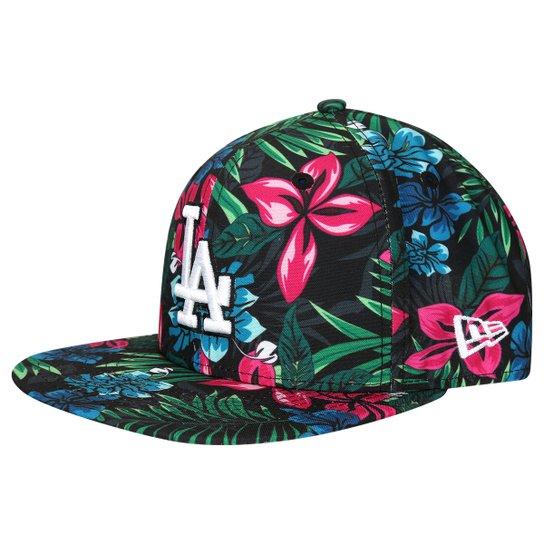 Boné New Era MLB 950 Of Sn Black Floral Los Angeles Dodgers - Preto+verde a1daeeb1613