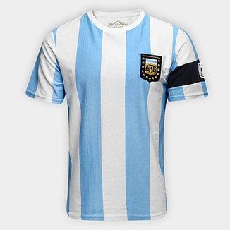Camiseta Argentina Capitães 1986 Retrô Times Masculina d5d8cab45b7b2