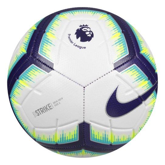 Bola de Futebol Campo Premier League Strike Nike - Branco e Azul ... 2de66f131fa4b