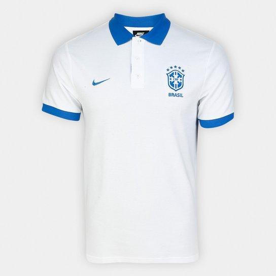 dab31a958 Camisa Polo Brasil Nike Masculina - Branco e Azul - Compre Agora ...