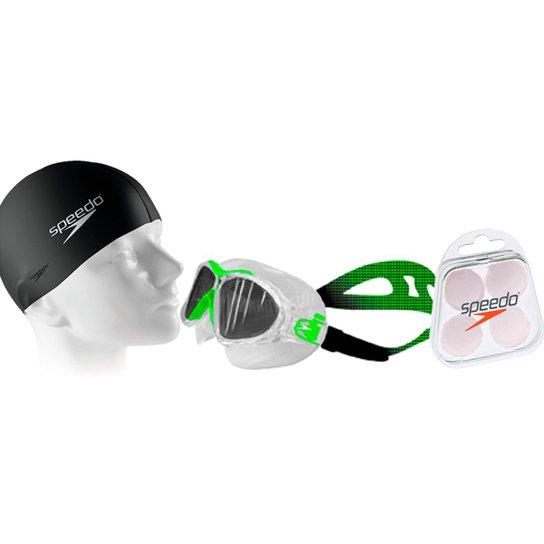 3a4f09f97 Kit Natação com Óculos Speedo Omega Swim + Protetor + Touca - Preto+verde