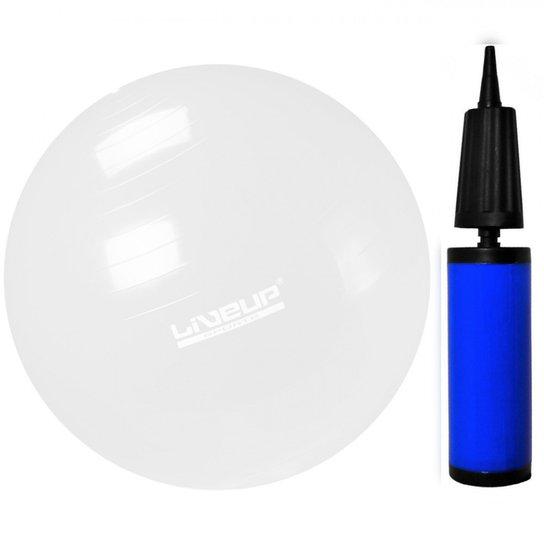 Kit Bola Suica Transparente para Pilates 65cm + Bomba com Bico de 7mm  LiveUp - Branco a449496d3b336
