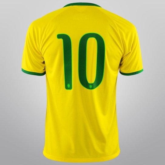8e0fe4ae97 Camisa Seleção Brasil I 14 15 nº 10 - Torcedor Nike Masculina - Amarelo+