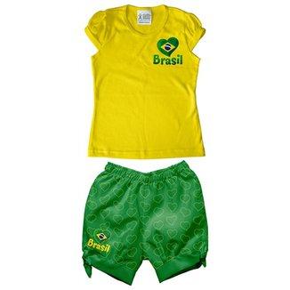 Conjunto Infantil Estilo Li Torcida Baby Brasil Feminina 59a2de35904da