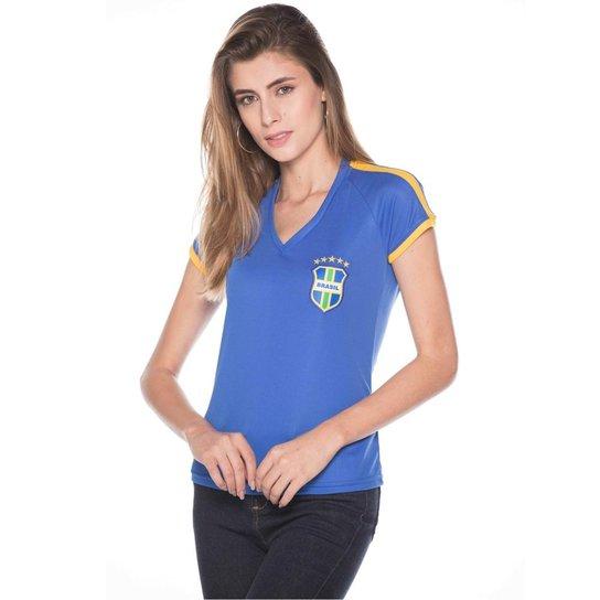 Camisa Super Bolla Brasil Pro Feminina - Azul Royal e Amarelo ... 9c04f8d967f4b
