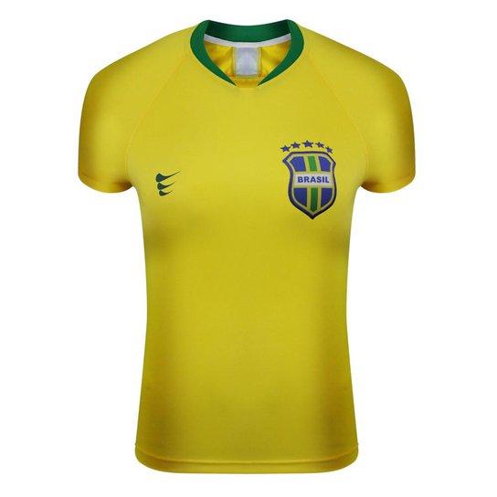 Camisa Super Bolla Brasil Jogador Nº10 Feminino - Amarelo e Verde ... ae06b7e8c465f