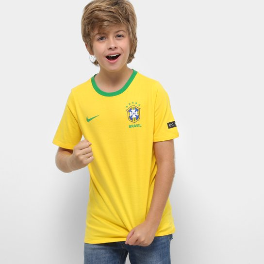Camiseta Seleção Brasil Juvenil Nike B Crest - Compre Agora  70c05acf7ef97
