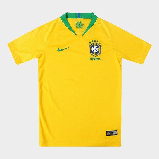 ff461c8944 Camisa Seleção Brasil Juvenil I 2018 s n° - Torcedor Nike - Amarelo ...