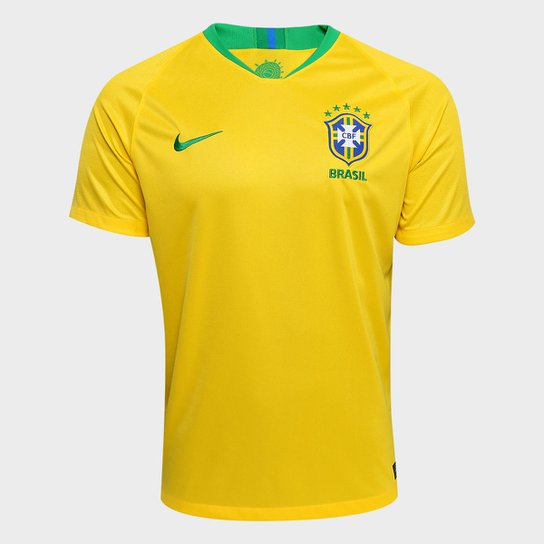 Camisa Seleção Brasil I 2018 s n° - Torcedor Nike Masculina - Amarelo+ 3d4857e5d0484