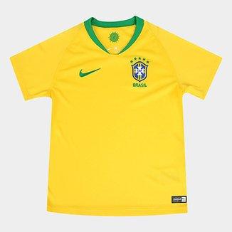 64f72fb548 Camisa Seleção Brasil Infantil I 2018 s n° - Nike