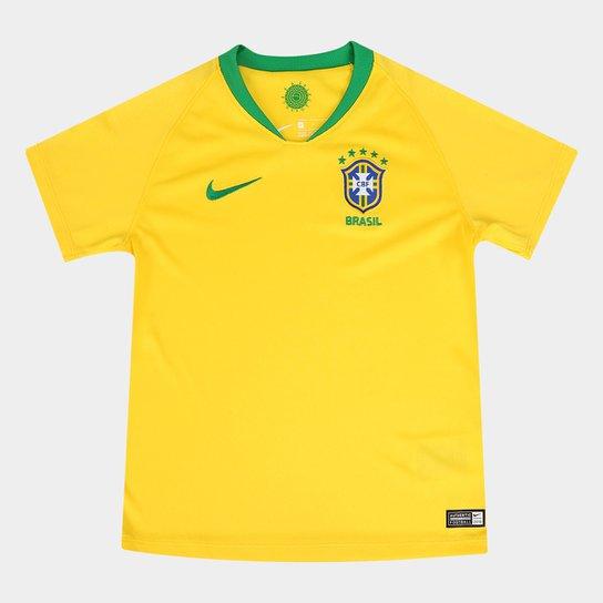Camisa Seleção Brasil Infantil I 2018 s n° - Nike - Amarelo e Verde ... 353ef192024c3