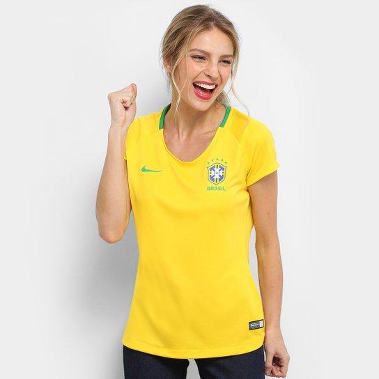 7aac8cc8e6 CAMISA MANGA CURTA CBF W NK BRT FTBL TOP undefinedLoading zoom. Camisa  Seleção Brasil I 2018 s n° - Torcedor Estádio Nike Feminina - Amarelo