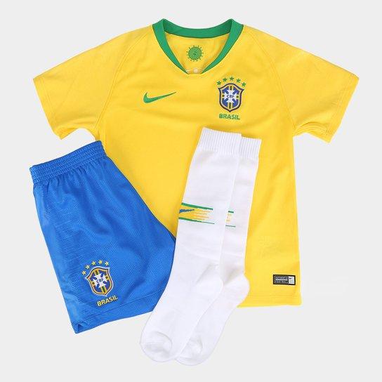 Kit Seleção Brasil Infantil I 2018 Nike - Amarelo e Verde - Compre ... 6a4065475cbbb