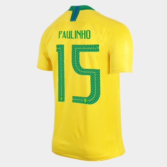 6602fbe298 Camisa Seleção Brasil I 2018 nº 15 Paulinho - Torcedor Nike Masculina -  Amarelo+Verde