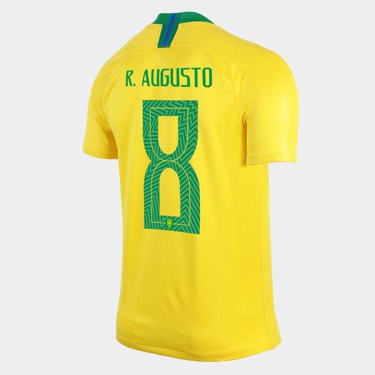 45b2eab157 Camisa Seleção Brasil I 2018 nº 8 R. Augusto - Torcedor Nike Masculina -  Amarelo