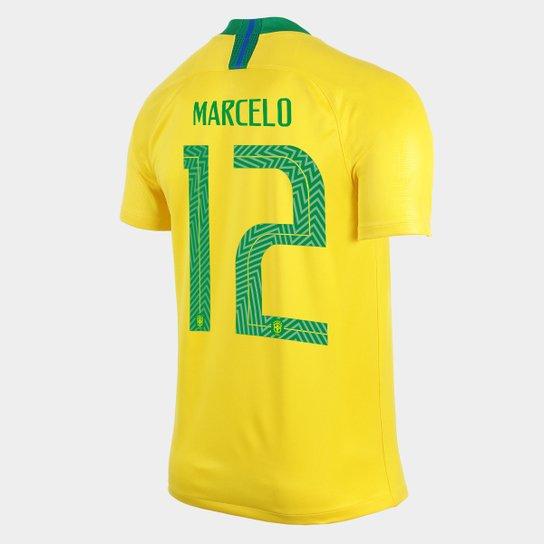 544b2661f2 Camisa Seleção Brasil I 2018 nº 12 Marcelo - Torcedor Nike Masculina -  Amarelo+Verde