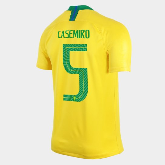 2945fd3c35d35 Camisa Seleção Brasil I 2018 nº 5 Casemiro - Torcedor Nike Masculina -  Amarelo+Verde