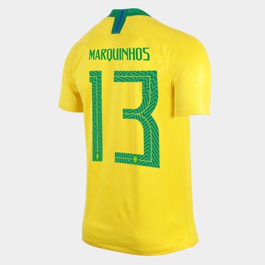 bc98aeb81 Camisa Seleção Brasil I 2018 nº 13 Marquinhos - Torcedor Nike Masculina -  Amarelo+Verde