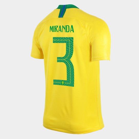 Camisa Seleção Brasil I 2018 nº 3 Miranda - Torcedor Nike Masculina -  Amarelo+Verde 0fae3d4388a7f