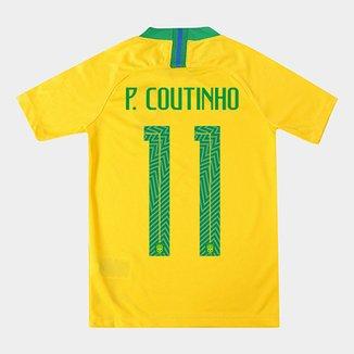 3b0f6772f9 Camisa Juvenil Seleção Brasil I 2018 nº 11 P. Coutinho - Torcedor Nike