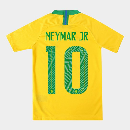 779d57656 Camisa Seleção Brasil Juvenil I 2018 nº 10 Neymar Jr - Torcedor Nike -  Amarelo+