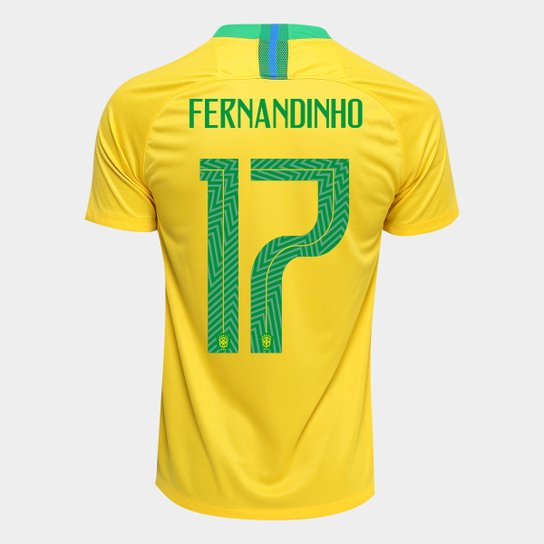 Camisa Seleção Brasil I 2018 nº 17 Fernandinho - Torcedor Nike Masculina -  Amarelo+Verde ad8da68deba6e