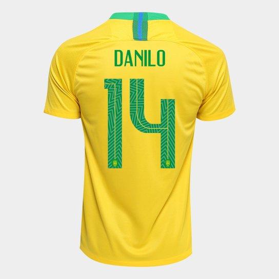 a56c325552cb5 Camisa Seleção Brasil I 2018 nº 14 Danilo - Torcedor Nike Masculina -  Amarelo+Verde