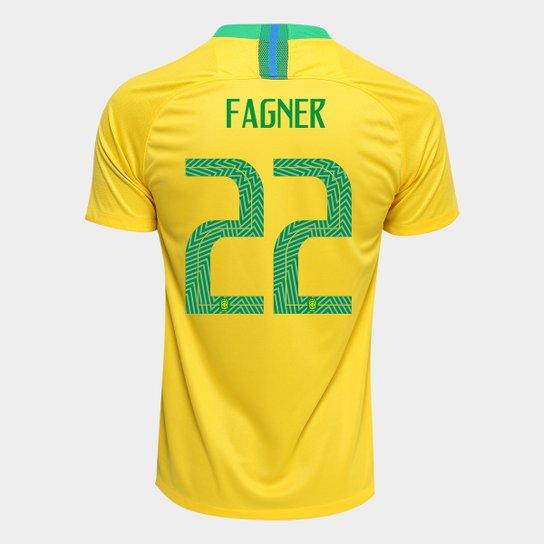 Camisa Seleção Brasil I 2018 nº 22 Fagner - Torcedor Nike Masculina -  Amarelo+Verde 4b88cbe14f566