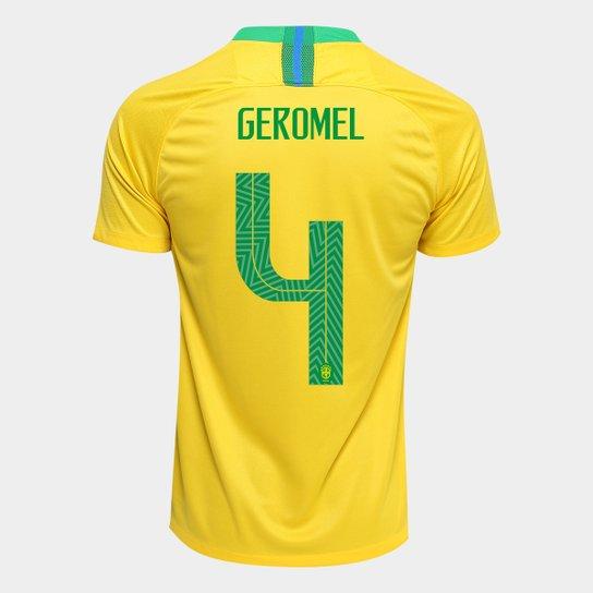 Camisa Seleção Brasil I 2018 nº 4 Geromel - Torcedor Nike Masculina -  Amarelo+Verde 4186b4baaec06