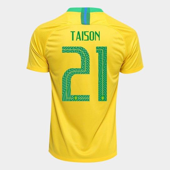 522b084e50 Camisa Seleção Brasil I 2018 nº 21 Taison - Torcedor Nike Masculina -  Amarelo+Verde