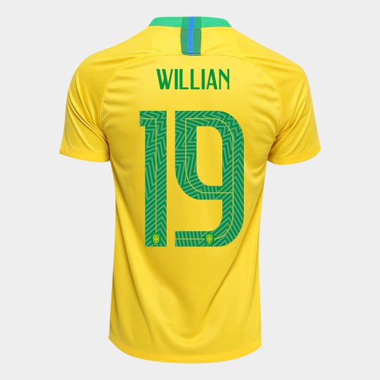 c9135e4583 Camisa Seleção Brasil I 2018 nº 19 Willian - Torcedor Nike Masculina -  Amarelo+Verde