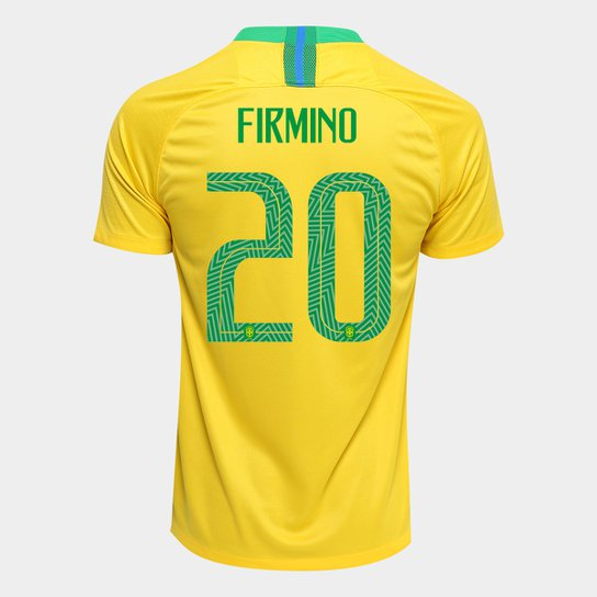 8f41255e53 Camisa Seleção Brasil I 2018 nº 20 Firmino - Torcedor Nike Masculina -  Amarelo+Verde