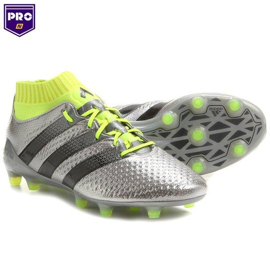 18bb23cad5 Chuteira Adidas Ace 16.0 Primeknit FG Campo - Prata+Verde Limão