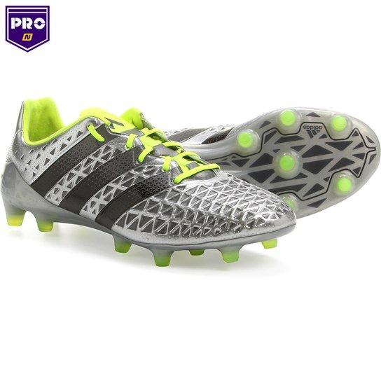Chuteira Adidas Ace 16.1 FG Campo - Prata+Verde Limão 7603aa158f570