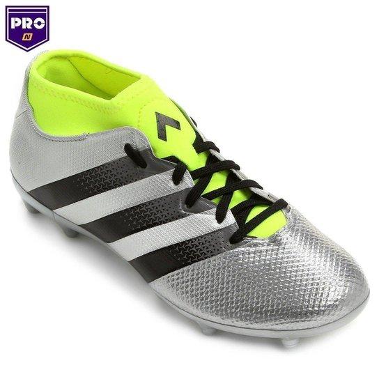 Chuteira Adidas Ace 16.3 Primemesh FG Campo - Prata+Verde Limão a6ea89cb55867