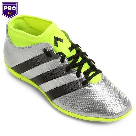 Chuteira Adidas Ace 16.3 Primemesh IN Futsal - Prata+Verde Limão 7d07a7ade6ba0