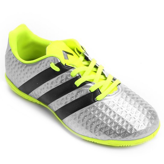 a095ee5e11 Chuteira Adidas Ace 16.4 IN Futsal Juvenil - Prata+Verde Limão