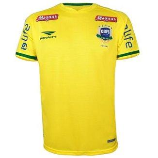 Camisa Penalty Masculina Futsal Brasil CBFS OF 1 2018 VIII e7fbcac6c717b