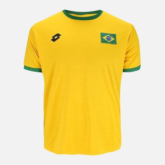 6d3a7fd862 Camisa Lotto Brasil Masculina - Amarelo e Verde - Compre Agora ...