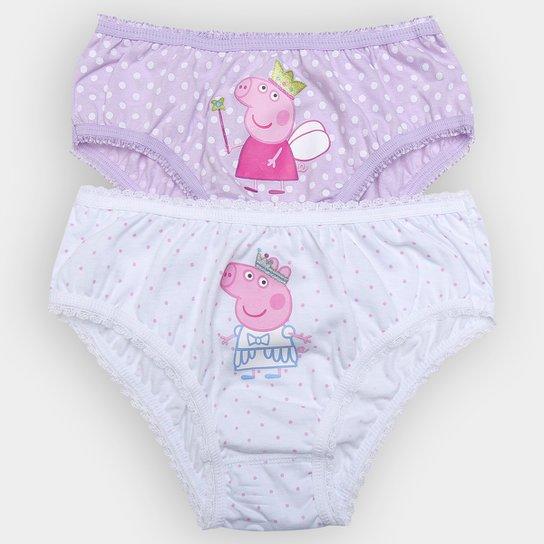64955d015 Kit Calcinha Lupo Peppa Pig 2 Peças Infantil - Branco+Lilás