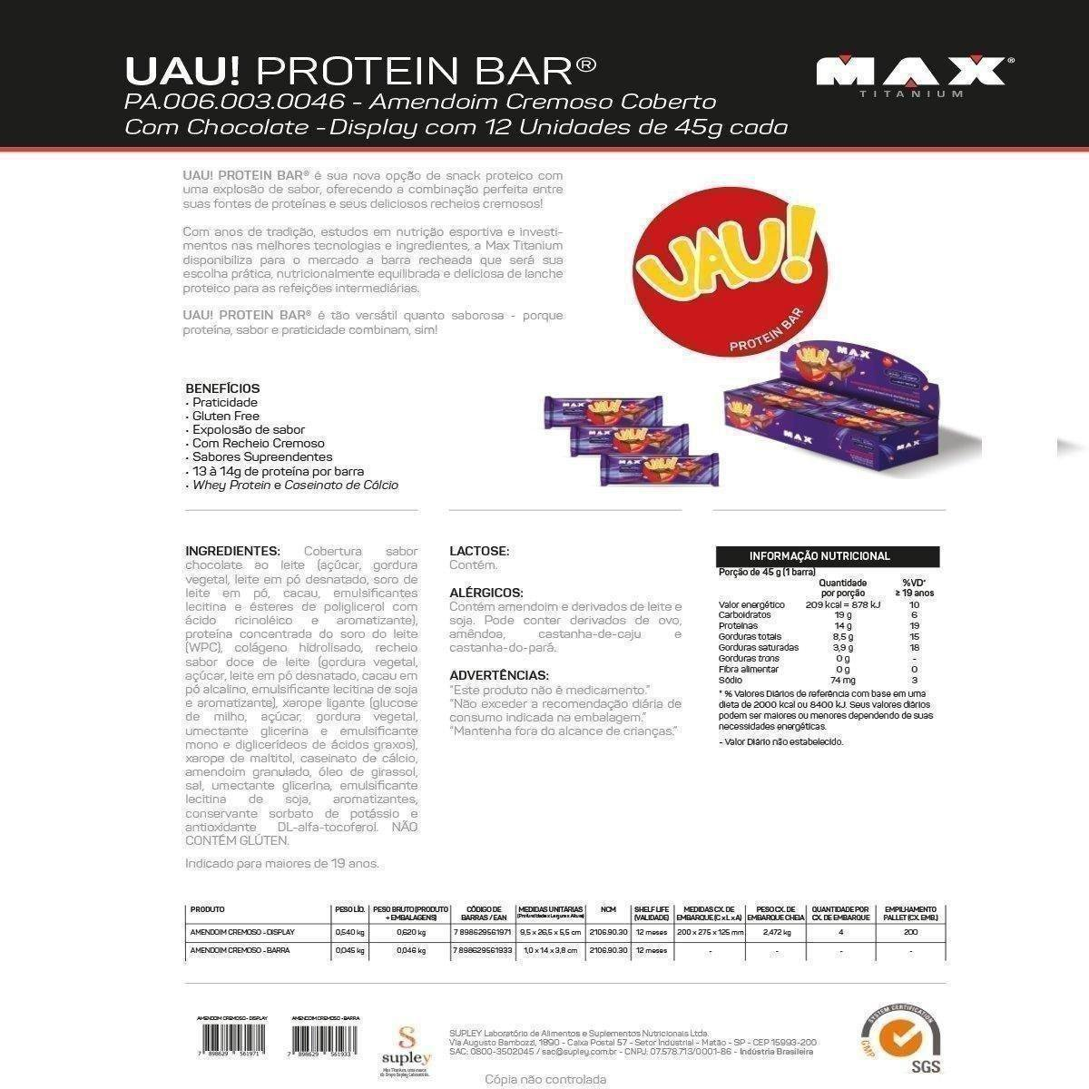 Uau Protein 45g c/ 12 unidades - Max Titanium - 1