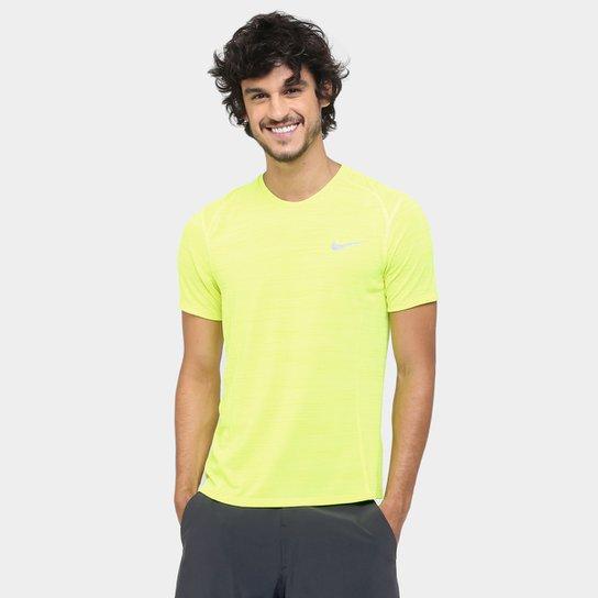5cb00f24f8 Camiseta Nike Dri-Fit Cool Miler SS Masculina - Verde Limão+Cinza