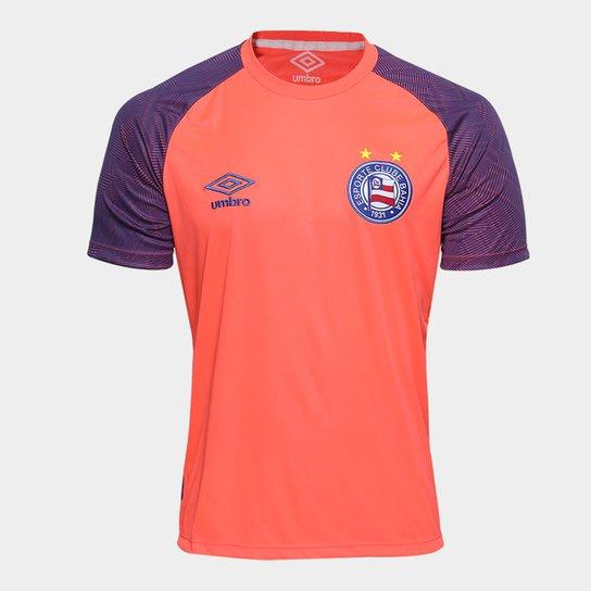 48167ecae7 Camisa Bahia Treino 2018 Umbro Masculina - Coral e Azul - Compre ...