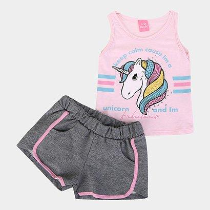 Conjunto Infantil Kamylus Shorts e Regata Feminino