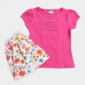 812b2795b8 Conjunto Infantil Fakini Estampa Floral Feminino